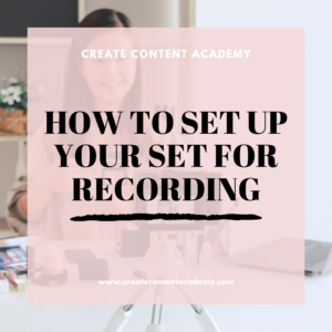 How to set up your set for recording